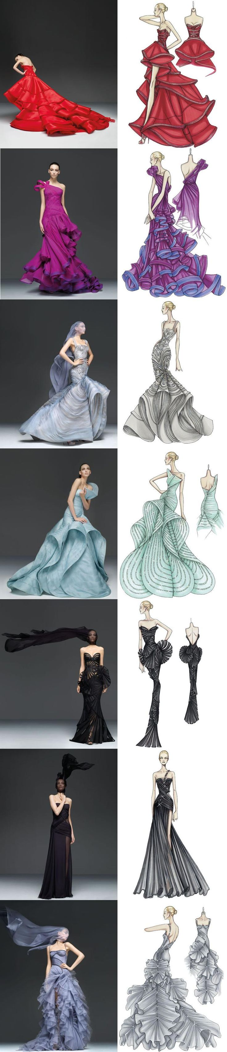 All beautiful dresses, really use the fabric to get the most out of it with the different movements. sketch to reality VERSACE