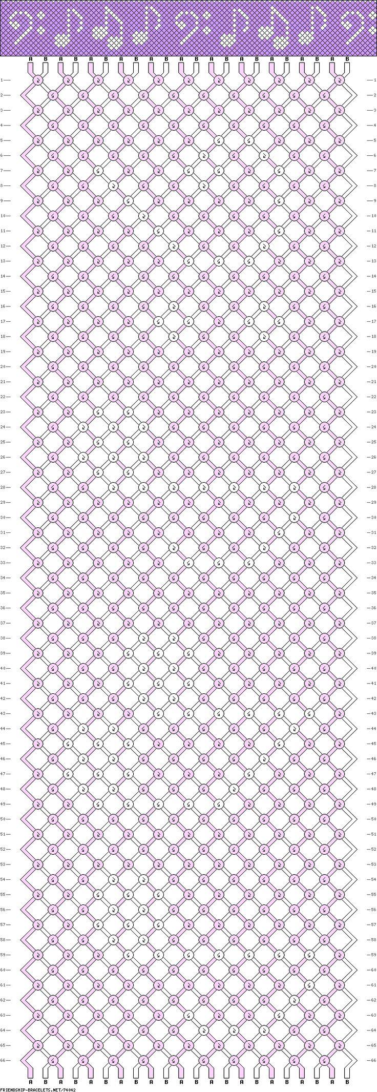 2 colors, 22 strings, 66 rows #friendship #bracelet #pattern #wristband #handmade #craft #DIY #music #sheet