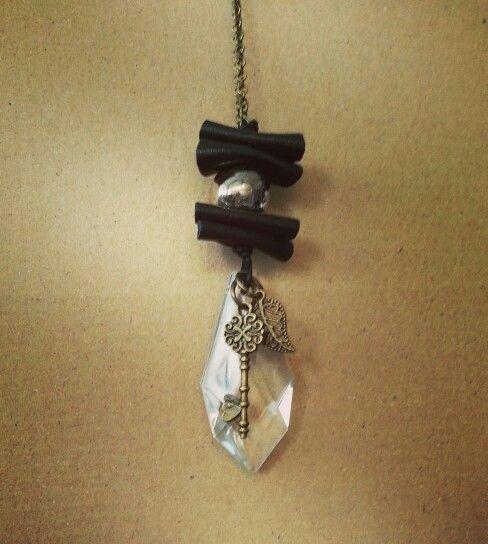 Necklace#brown# leather#raku#pearl#ceramic#glass#pendant#key#leaf#