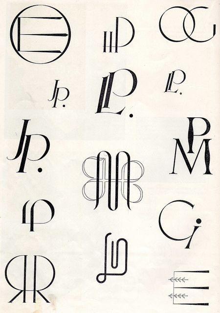 Embroidery monogram patterns from 1950  Ommeltavia kirjaimia, WSOY 1950 - A Finnish book of embroidery patterns: