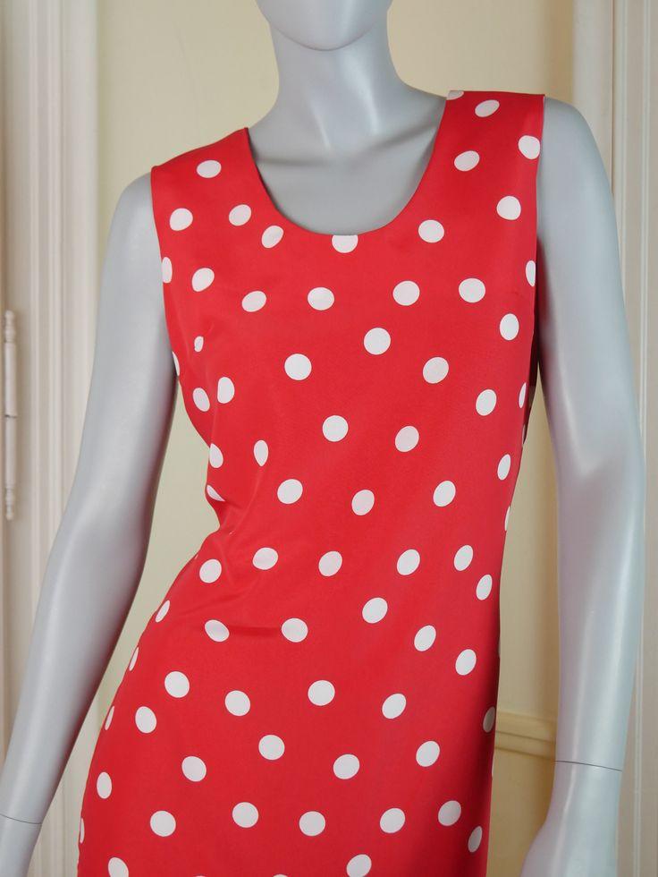 Swedish Vintage Red White Polka Dot Dress, Drop Waist Midi Dress, European Vintage Sleeveless Dress, Spring Summer Dress: Size 8 US, 12 UK by YouLookAmazing on Etsy