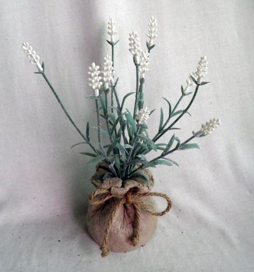 lavender in paper mache bag ,white purple