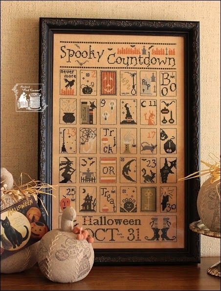 Spooky Countdown by The Primitive Hare Fabric : Lakeseide linens 40ct Thread : DMC:
