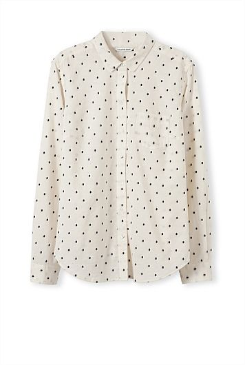 Country Road Embroidered Spot Boyfriend Shirt