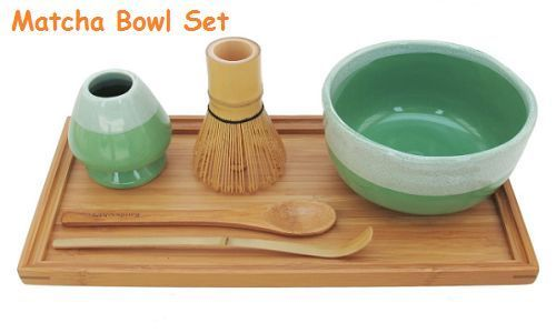 Matcha Bowl Set Rest Tea Bamboo Whisk Chasaku Spoon Tray Mint Green Japanese 4pc