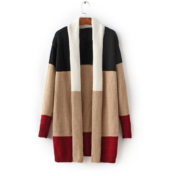 Yoins Multicolor Long Sleeves Open Front Knitwear (68 BAM) ❤ liked on Polyvore featuring tops, cardigans, black, open front tops, long sleeve open front cardigan, colorful cardigans, colorful tops and multi color cardigan
