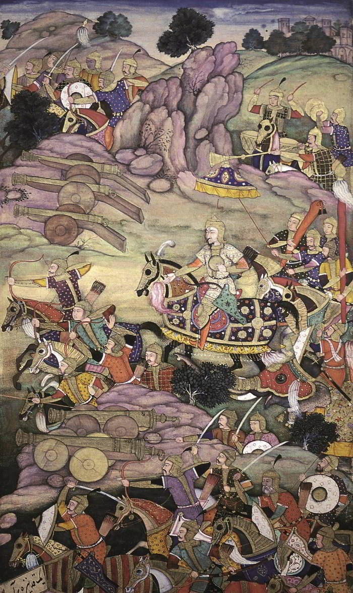 Detail from the first Battle of Panipat, 1526, fought between Babur and Ibrahim Lodi. AKG Images/National Museum of India, New Delhi. Click for full version.