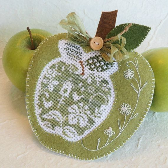 Green Apple Spring Decoration by SnowBerryNeedleArts on Etsy