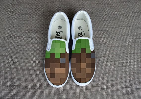 Minecraft shoes. Hand painted shoes. Unisex minecraft by TapkiShop