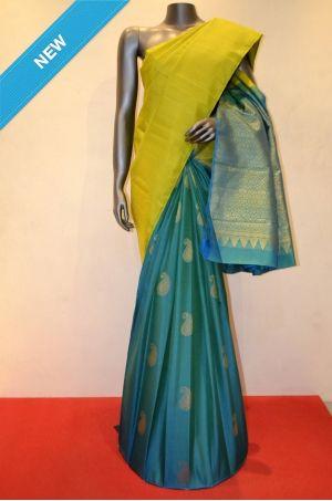 Green With Rama Blue Jacquard Patli Kanjeevaram Silk Saree