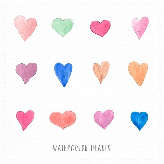 Free vector Hand painted watercolor hearts illustrations #23418