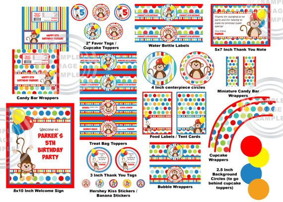 Monkey birthday party package polka dot stripe primary for Dots and stripes party theme