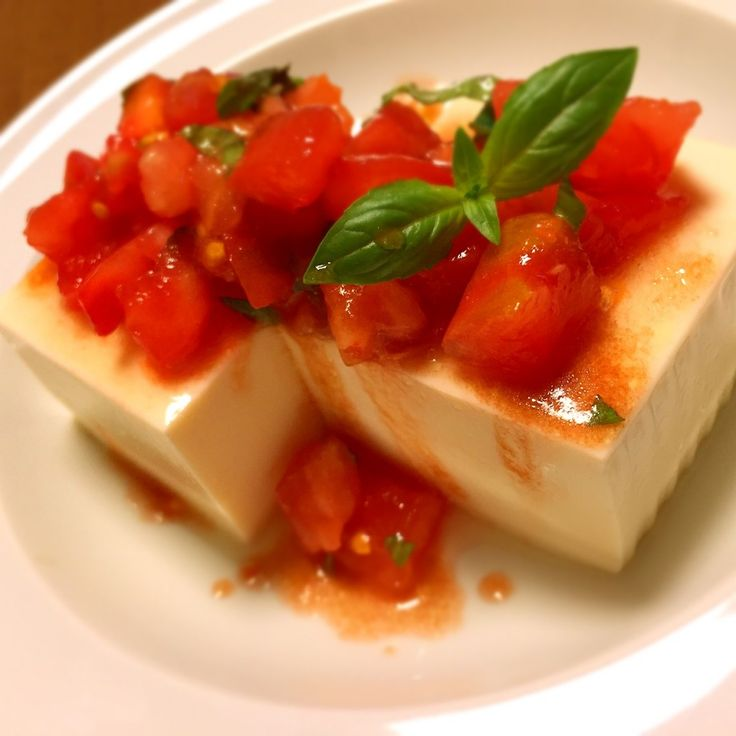 Hiya-Yakko (Chilled Tofu) Topped with Tomato and Basil with Balsamic Soy Sauce