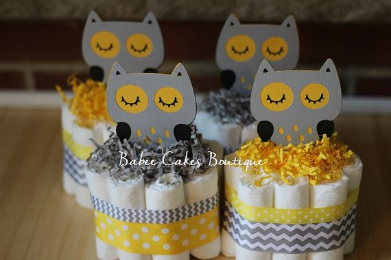 Set of 4 Mini Gray and Yellow Owl Diaper Cakes, Gender Neutral Owl Baby Shower, Yellow Grey Shower Centerpiece Decor, Mini Owl Centerpieces