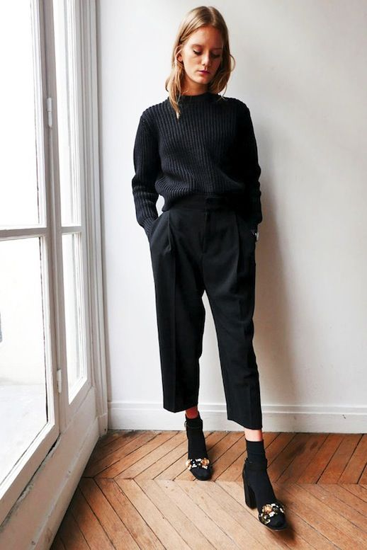 ribbed sweater, cropped pants black socks and embellished sandals