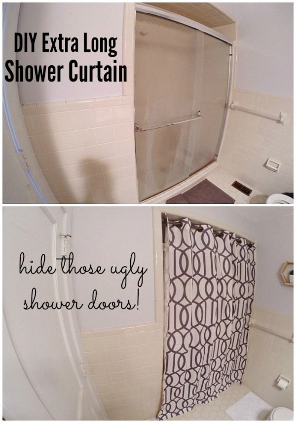 DIY super long shower curtain - how to hide those ugly shower doors!
