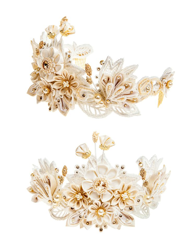 Helene bridal flower crown silk flowers/ Swarovski crystals / guipure lace by Petite Lumiere