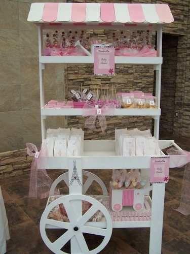 carreta mesa de dulces postres pasteles cupcakes fondant pop