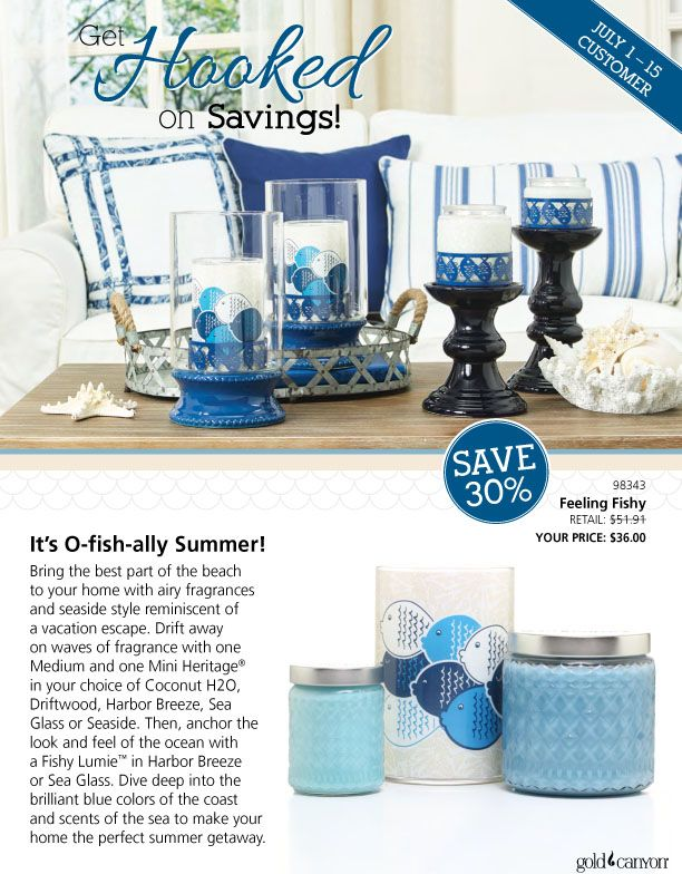 It's O-fish-ally Summer! Bring the best part of the beach to your home with airy fragrances and seaside style reminiscent of a vacation escape. Drift away on waves of fragrance with one Medium and one Mini Heritage® in your choice of Coconut H2O, Driftwood, Harbor Breeze, Sea Glass or Seaside. Then, anchor the look and feel of the ocean with a Fishy Lumie™ in Harbor Breeze or Sea Glass.