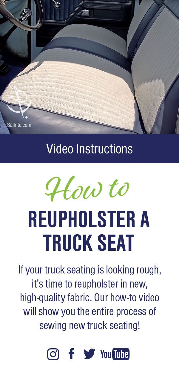 How To Reupholster A Truck Seat Video