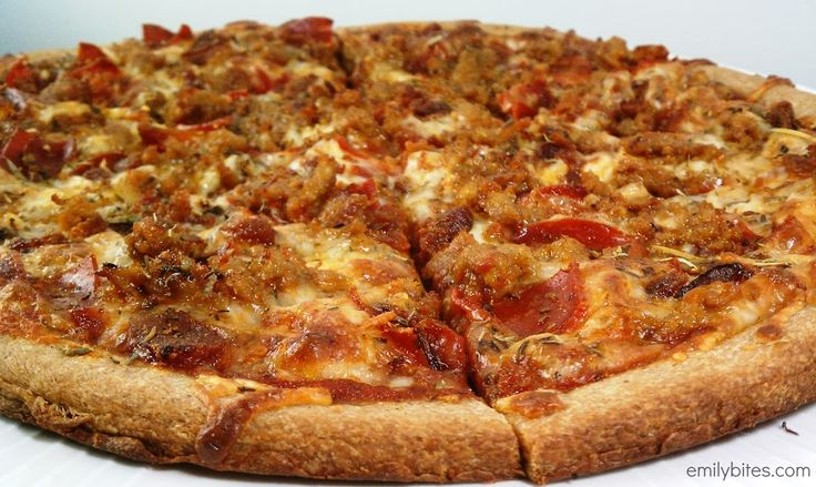 Meat Lover's Pizza - Weight Watchers - 6 servings, 5 points per serving. Could put LESS meat on and lessen the points+ value