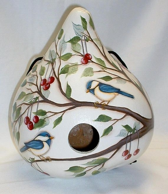 Chickadee with Red Cherries Gourd Birdhouse  Hand Painted