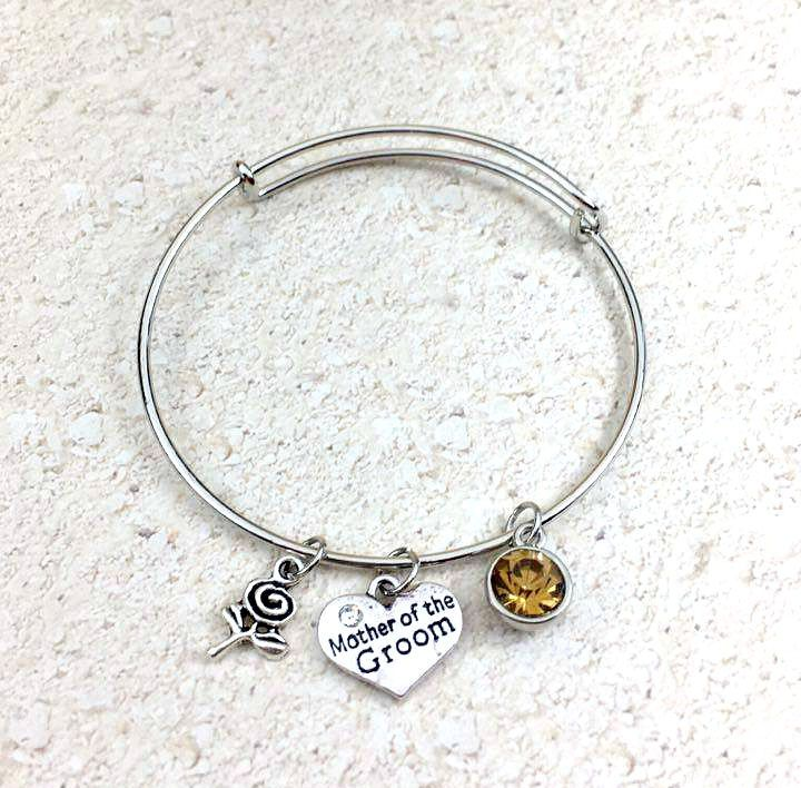 Mother of the Groom Charm Bracelet - Charm Bangle Bracelet - Mother of Groom Bracelet - Wedding Jewelry - Stackable Bangle - Bangle Charms