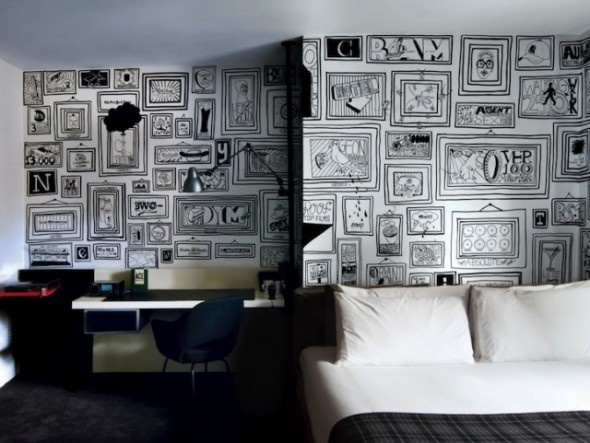 Timothy Goodman's picture frame wall design for the Ace Hotel in New York.
