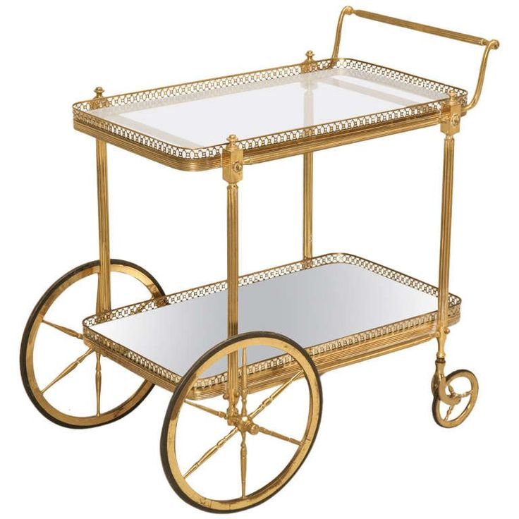 Vintage Solid Brass French Tea Cart, circa 1950s | 1stdibs.com
