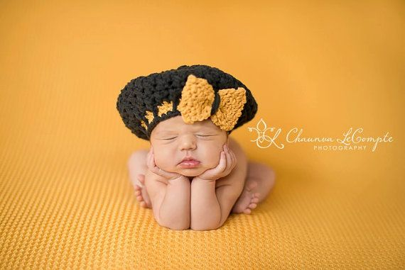 Beret with Bow  charcoal gray maize yellow  by TheCrochetSisters, $24.00