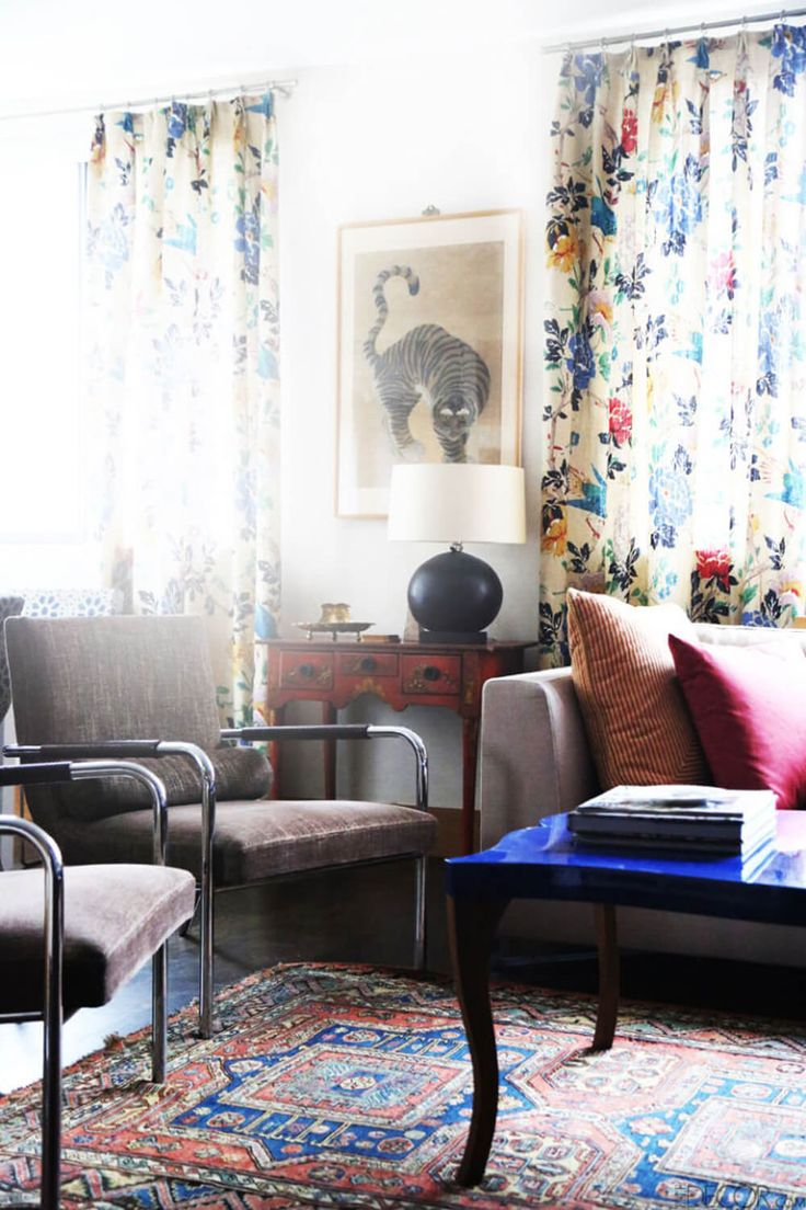 living spaces home furniture. multicolored vintage drapes in the living room indre rockefeller home nyc apartment elle decor spaces furniture