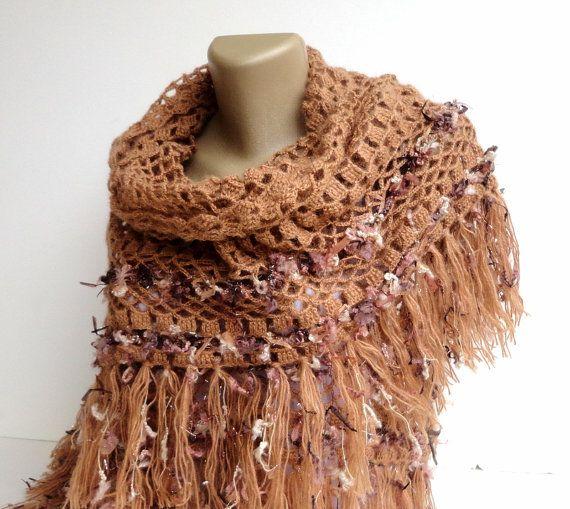 caramel crochet wrap ,shawl ,scarve scarf ,winter accessories for women ,stole , gift ideas on Etsy, $65.00