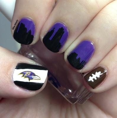 Baltimore Ravens Nails - AFC Championship - Baltimore Skyline