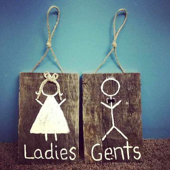 Outdoor Wedding Restroom Signs Mr & Mrs signs by CuteStuffByJO