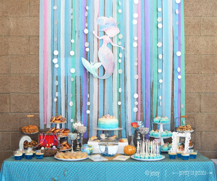 Mermaid Birthday Party Dessert Table - it's amazing what a colorful streamers backdrop can do!