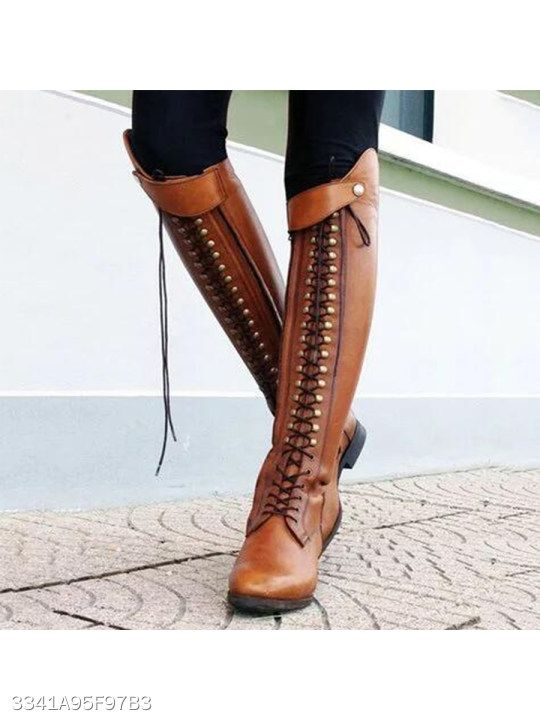 e288dae2196 Plain Flat Round Toe Date Outdoor Knee High Flat Boots - berrylook ...