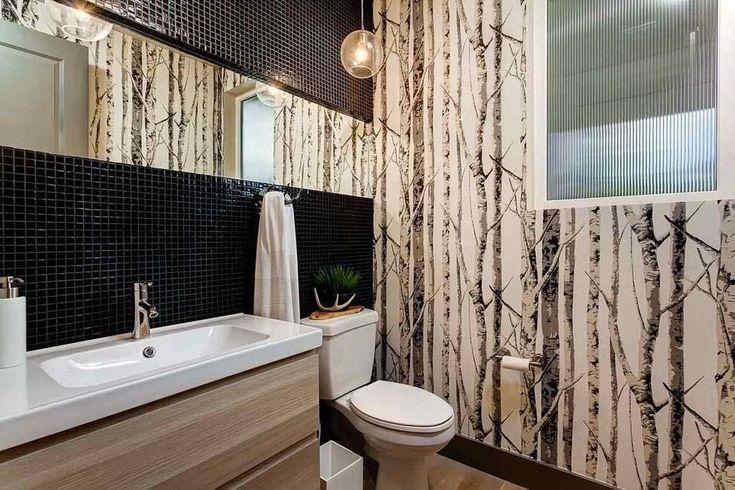 фотообои имитирующие стволы деревьев в ванной