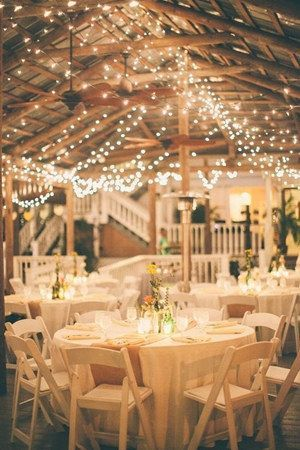 cool country rustic wedding reception ideas with string lights...