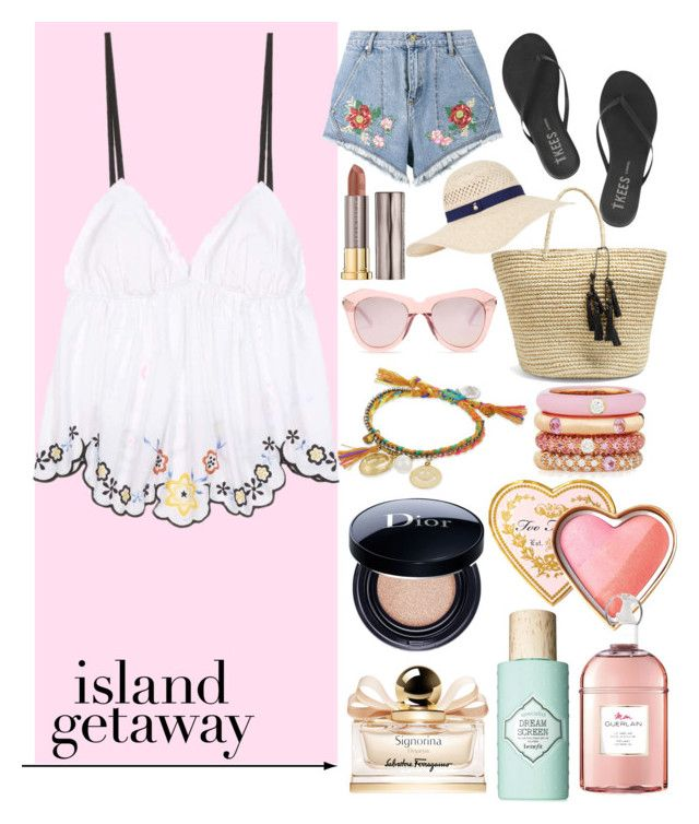 """Island getaway ☀️🌴 #islandgetaway #contest #polyvore"" by vikapranika on Polyvore featuring See by Chloé, Tkees, House of Holland, Sensi Studio, Karen Walker, Accessorize, Venessa Arizaga, Adolfo Courrier, Too Faced Cosmetics and Christian Dior"
