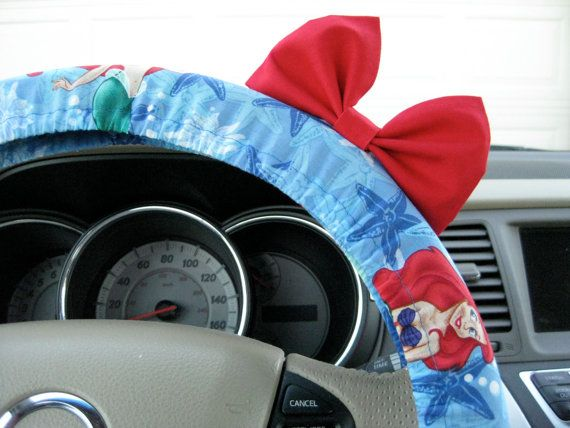 The Original Little Mermaid Inspired Steering Wheel Cover with Matching Bright Red Bow on Etsy, $25.00