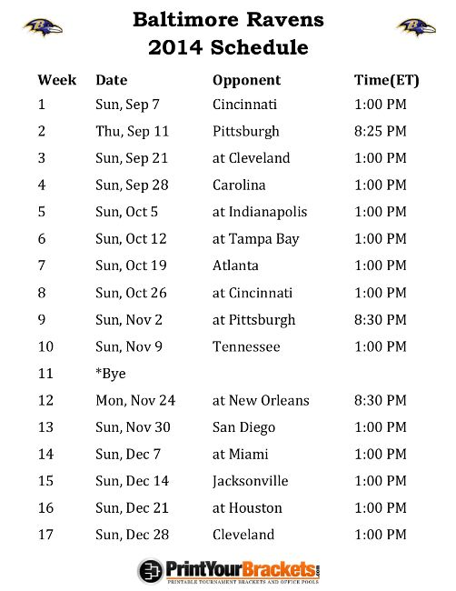 Printable Baltimore Ravens Schedule - 2014 Football Season