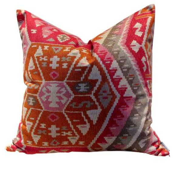 You will have to look twice to appreciate that this is a print, very realistic kilim pattern in shades of Pink, Coral, Grey, burnt orange All cotton fabric, Reverse is sewn in the same fabric SEWN BY US IN CANADA PILLOW COVER ONLY with zippered closure All interior seams are reinforced and sewn corners are tapered to avoid dog ears dry cleaning recommended With large patterns, pattern placement will vary. Please let us know when you order should you have particular pattern placement requ...