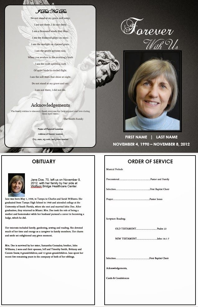 26 best Funeral Advice Articles images on Pinterest Funeral - memorial pamphlet template free