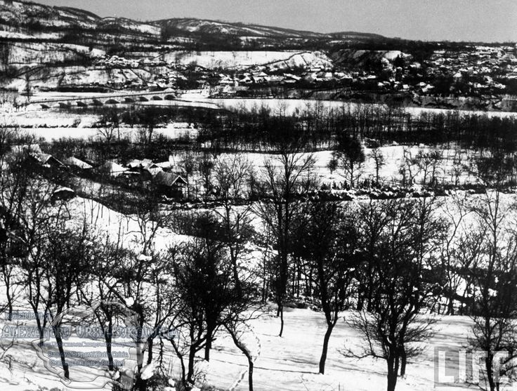 59.View of snow-covered village of Baresti nr. Ploesti on the frozen Prahova River.