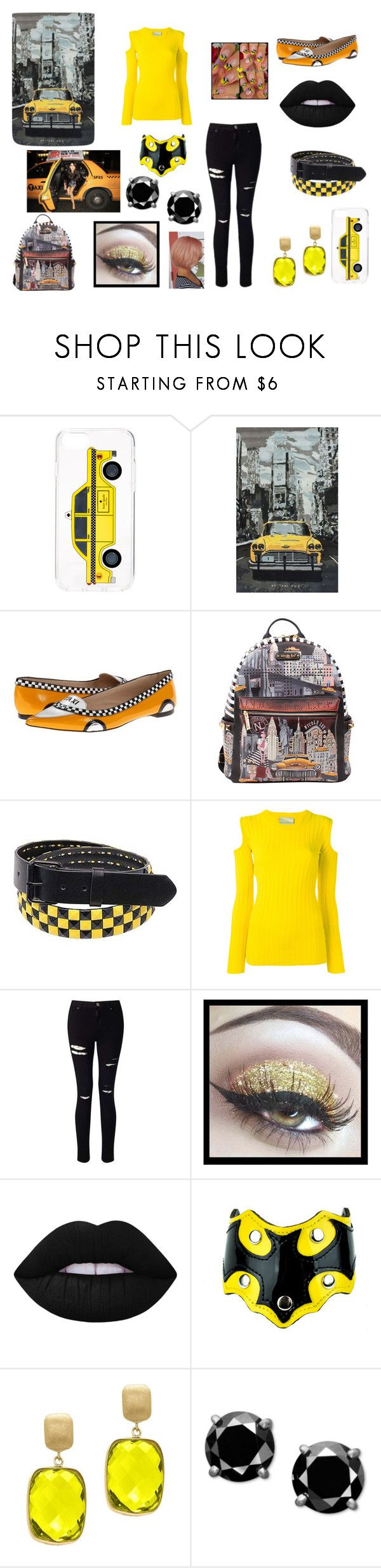 """""""Jessamine"""" by maryrbarker on Polyvore featuring Kate Spade, nuLOOM, Nicole Lee, TAXI, American Apparel, Erika Cavallini Semi-Couture, Miss Selfridge, Lime Crime, Effy Jewelry and yellow"""