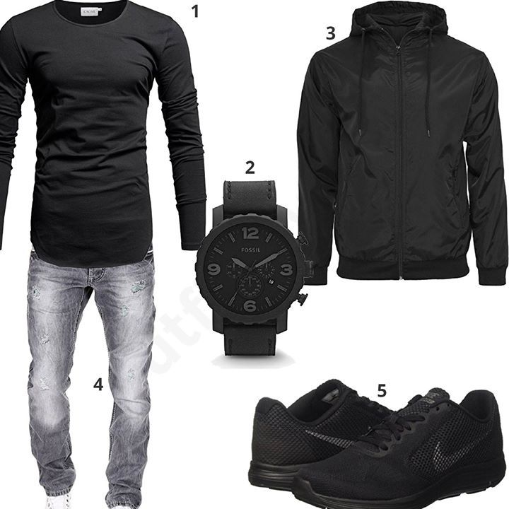 schwarzer look f r m nner mit windbreaker m0361 outfit style fashion inspiration. Black Bedroom Furniture Sets. Home Design Ideas