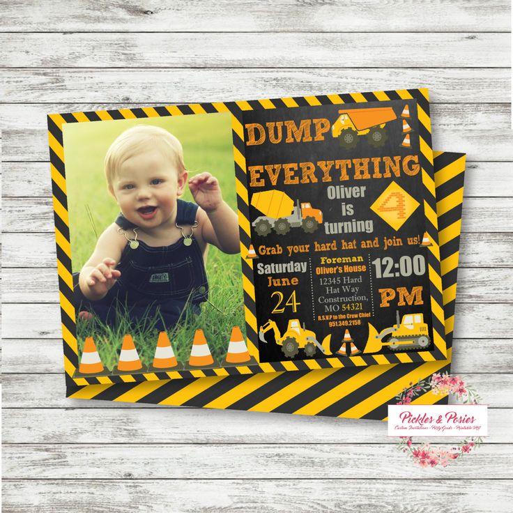 CONSTRUCTION Birthday Invitation - PERSONALIZED - Dump Truck Party -  Custom Personalized Birthday Invitation - Printable…