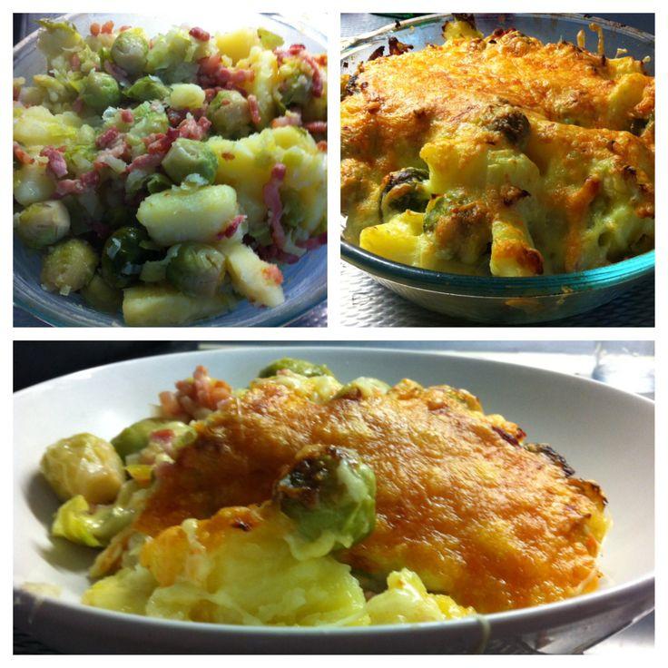 Spruitjes 'a la Kims. 4 pers.  500 gr spruitjes, 500 gram aardappeltjes, 500 gram spekjes,1 prei. Groente en aardappelen koken, spekjes bakken. Peper, zout en knoflook bij de aardappelen. Groeten en aardappelen husselen (niet stampen) in vergiet, spekjes erdoor. Alles in ovenschaal, geraspte kaas eroverheen en 15 min in de oven 200 graden. Smakelijk!