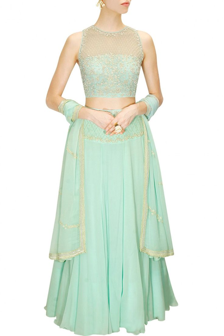 Aqua blue pearl embroidered lehenga set available only at Pernia's Pop-Up Shop.