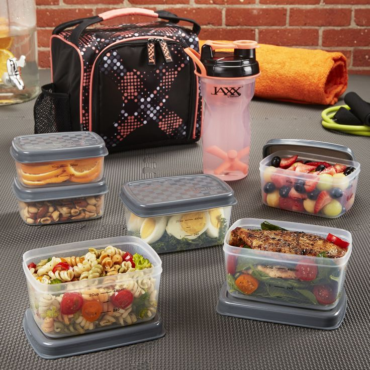 Jaxx FitPak with Portion Control Containers & Shaker Cup - The perfect way to fuel your day! Great for work or the gym. Available in pink or red. Browse the full selection at www.fit-fresh.com  #fitfresh